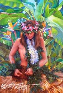hula girl painting Calm Before the Storm Phil Roberts