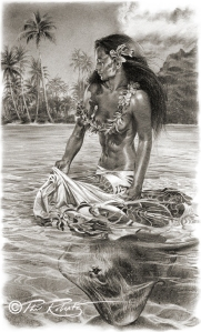 tahiti, hula girl, island art, swimming with rays by Phil Roberts