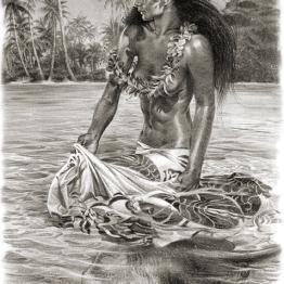 tahiti, hula girl, island art, swimming with rays by Phil Roberts
