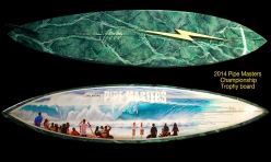 2014 pipe masters champion trophy lightning bolt surfboard by Gerry Lopez and Phil Roberts