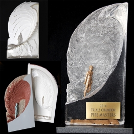 pipe masters, sculpture, champion, surfboard trophy