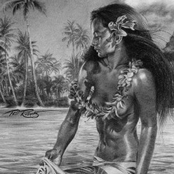 tahitian-ray-hawaii-hula-hawaiian-black-white-charcoal-by-Phil-Roberts