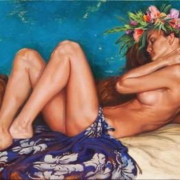 """Slumber in Aqua"" Original Oil Painting SOLD Fine Art Canvas Print BUY NOW >> 12""x24"" Canvas $175"