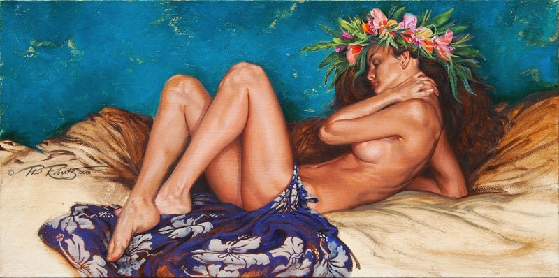 tahitian-reclining-hawaii-hula-girl-hawaiian-black-white-charcoal-by-Phil-Roberts