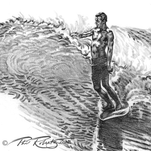 Richard (Dick) Catri Surfing pencil drawing