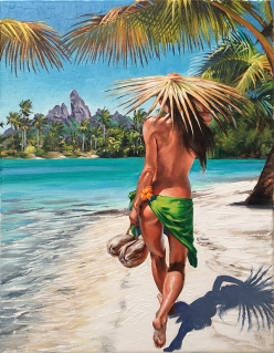 Coconuts for lunch Hawaiian island stroll of beautiful hula girl on beach - surf ocean art by Phil Roberts