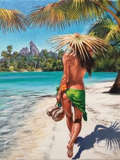 Coconuts for lunch Hawaiian island stroll of beautiful hula girl on beach - surf ocean art by Phil Roberts