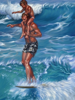 "Fathers Day"" Dick and Kim Catri surfing portrait oil on canvas"