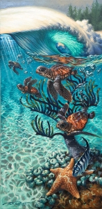 Baby Sea turtles swimming underwater coral reef in tropical ocean with bubbles surf ocean art
