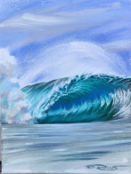 Ocean Wave Rain Barrel Surf Art Phil Roberts Crystal Blue Mist (origainal) by Phil Roberts