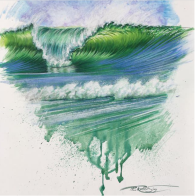 Ocean Wave Rain Barrel Surf Art Original Green Wave (Original)