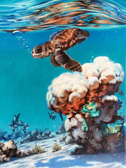Ocean Wave Rain Barrel Surf Art Hide & Seek (Original)