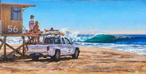 Ocean Wave Rain Barrel Surf Art NewPort Beach Life Guard Truck by Phil Roberts (Prints)