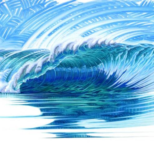 Ocean Wave Rain Barrel Surf Art Phil Roberts Open Line Waves (original)
