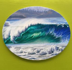 Ocean Wave Rain Barrel Surf Art Oval Misty Waves (original) by Phil Roberts