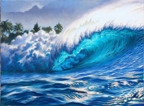 """Ocean Wave Rain Barrel Surf Art Pipline Afternoon (sold) by Phil Roberts"""