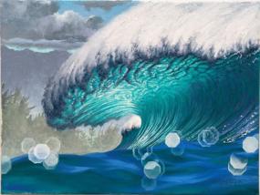 Ocean Wave Rain Barrel Surf Art Moody Pipleline by Phil Roberts