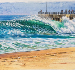 Ocean Wave Rain Barrel Surf Art Sebastian Inlet (original) by Phil Roberts